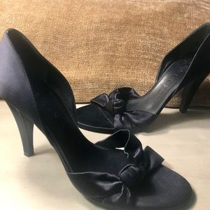 Celine loved/worn midnight blue satin shoe
